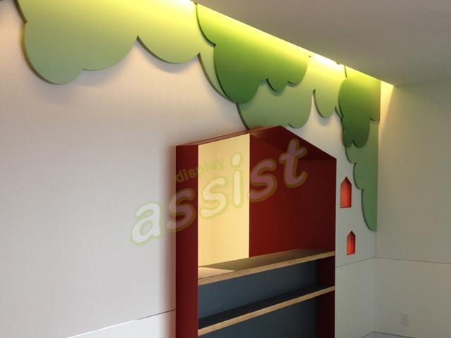 歯科医院の壁面オブジェ制作。2センチ程のシナベニヤ板を塗装てあります。